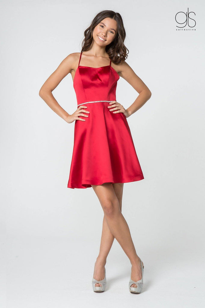 Short Prom Satin Homecoming Cocktail Dress - The Dress Outlet Elizabeth K