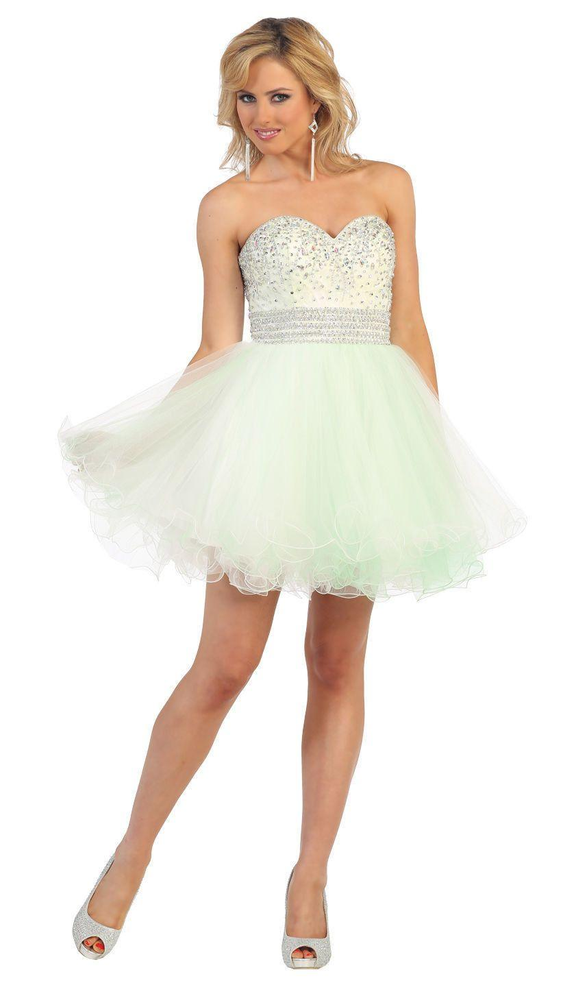 Short Prom Formal Cocktail Dress Homecoming - The Dress Outlet Mint