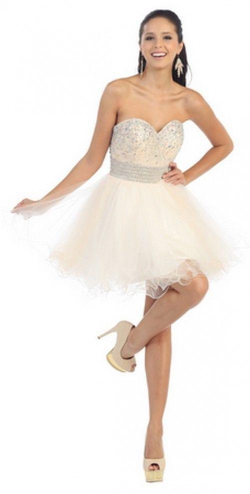 Short Prom Formal Cocktail Dress Homecoming - The Dress Outlet Champagne