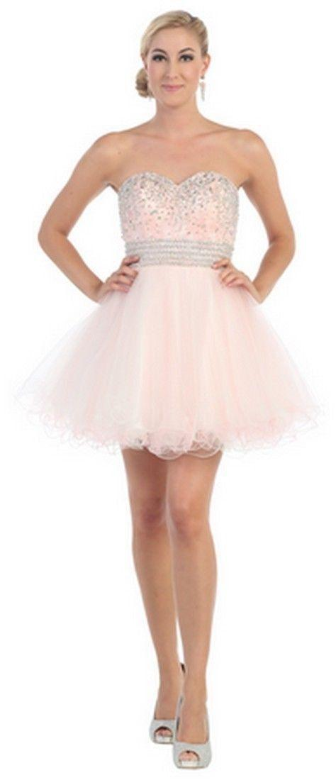 Short Prom Formal Cocktail Dress Homecoming - The Dress Outlet White Blush