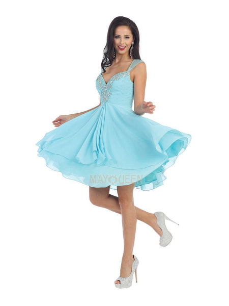 Sleeveless Short Dress Formal Cocktail - The Dress Outlet Aqua May Queen