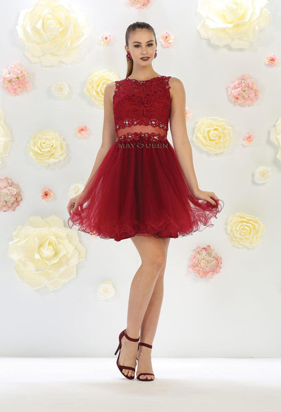 Short Prom Formal Homecoming Dress - The Dress Outlet Burgundy May Queen