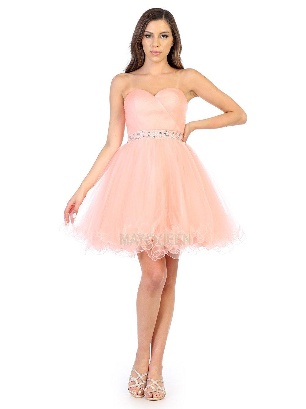 Strapless Short Dress Homecoming - The Dress Outlet Blush