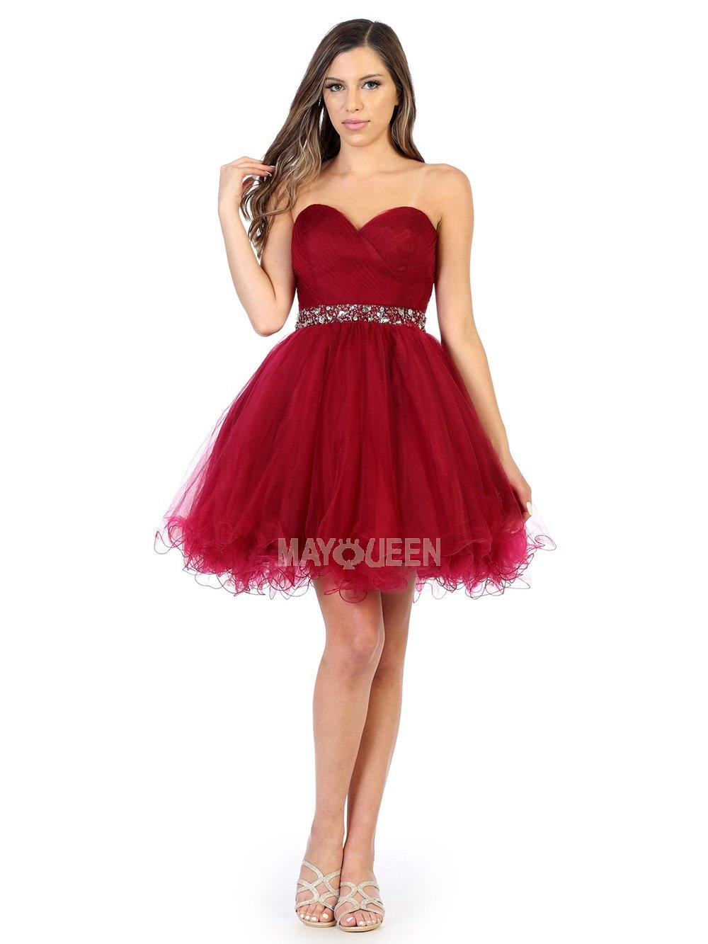 Strapless Short Dress Homecoming - The Dress Outlet Burgundy