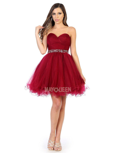Strapless Short Dress Homecoming - The Dress Outlet Burgundy May Queen