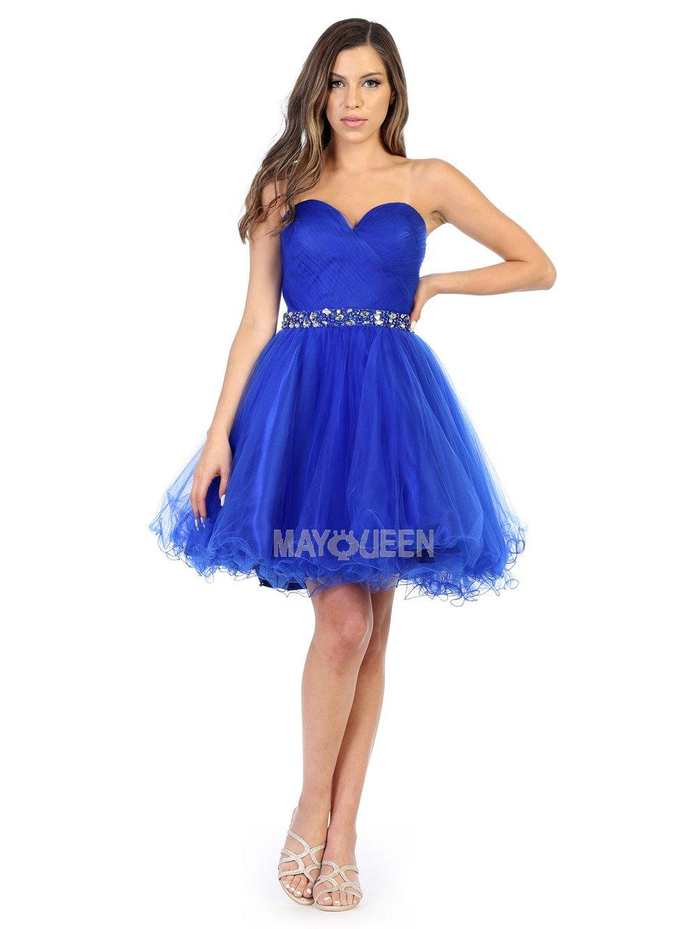 Strapless Short Dress Homecoming - The Dress Outlet Royal Blue