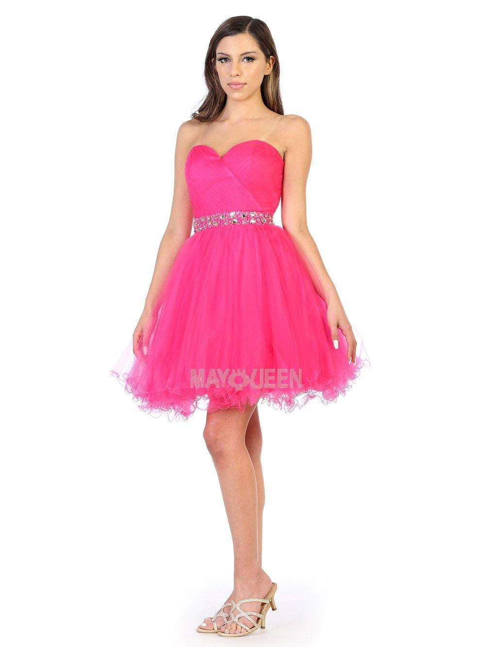 Strapless Short Dress Homecoming - The Dress Outlet Fuchsia