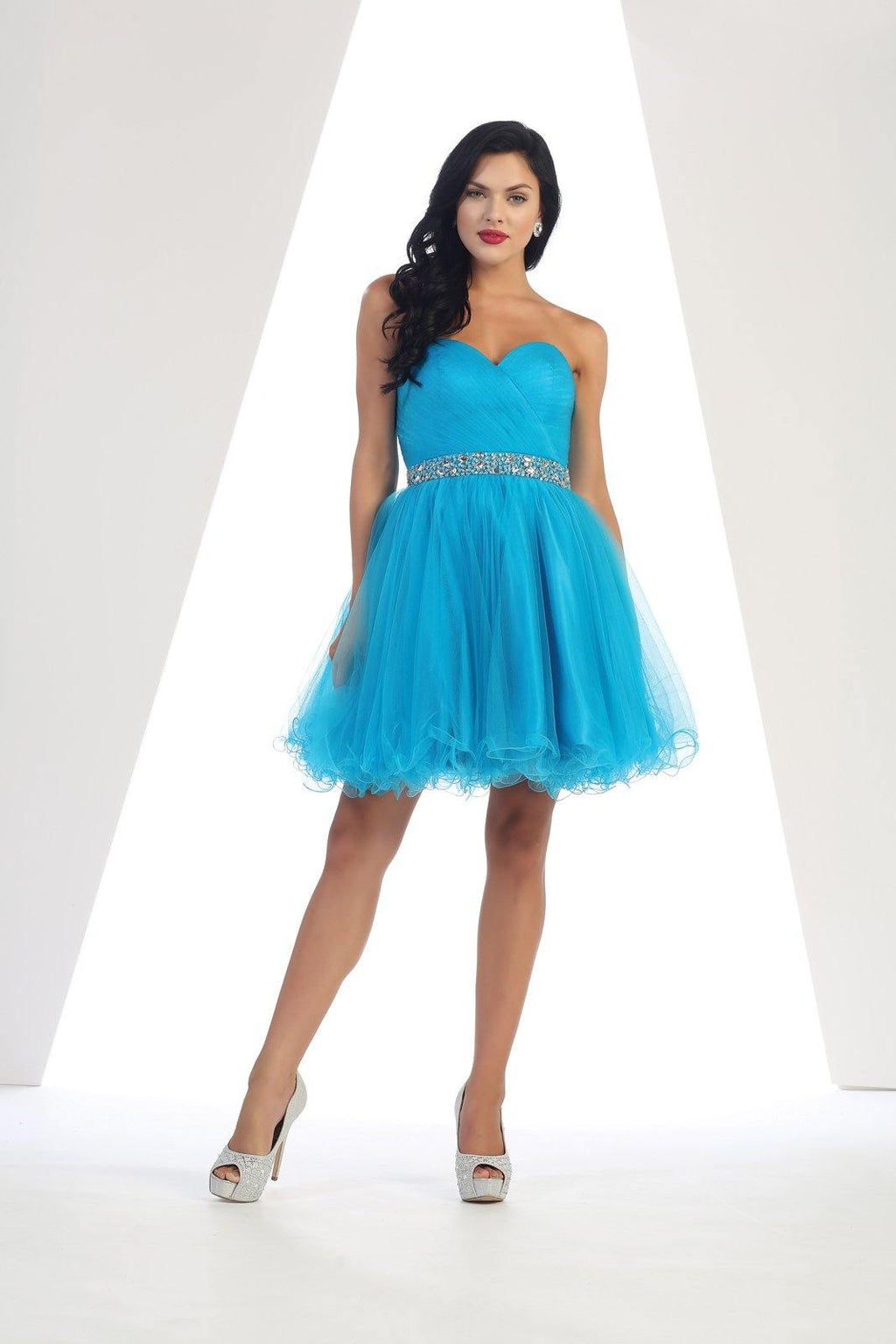 Strapless Short Dress Homecoming - The Dress Outlet Aqua