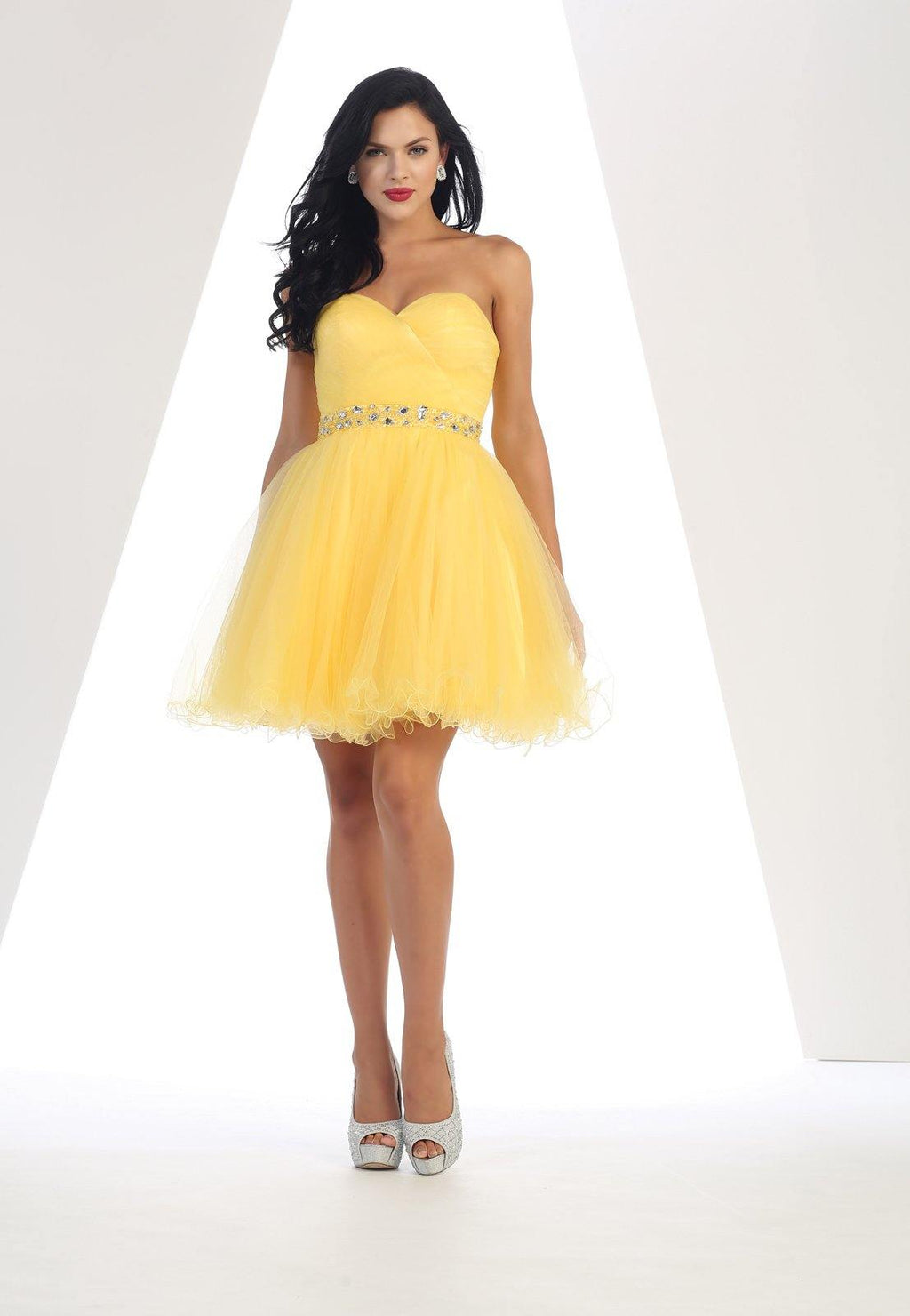 Strapless Short Dress Homecoming - The Dress Outlet Yellow