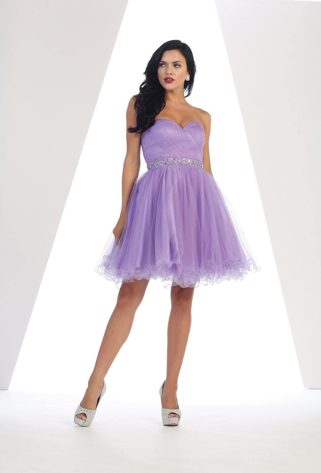 Strapless Short Dress Homecoming - The Dress Outlet Lilac