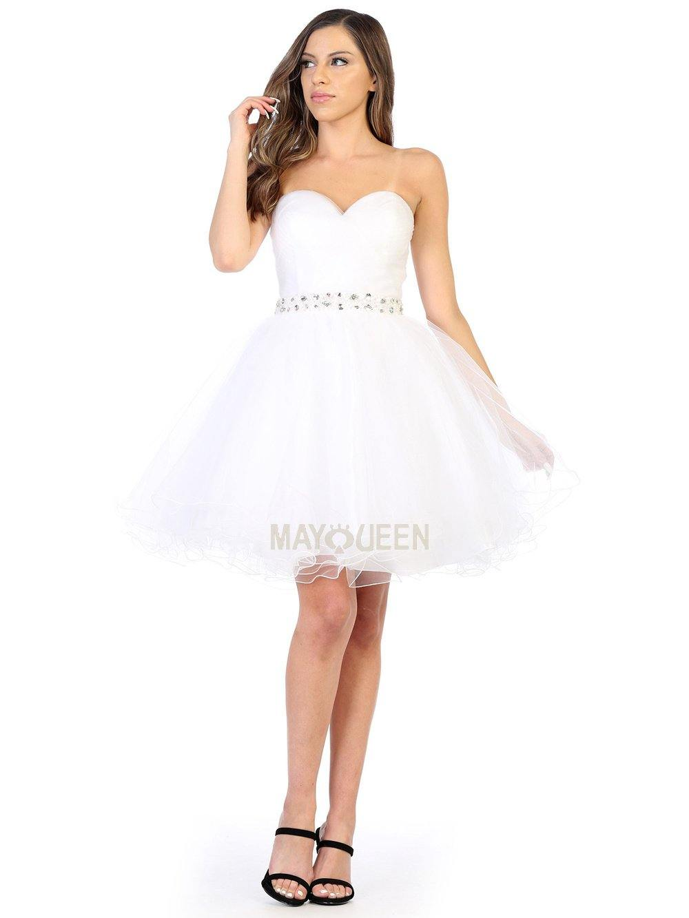 Strapless Short Dress Homecoming - The Dress Outlet White