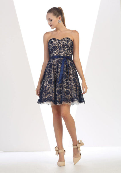 Short Strapless Dress Formal Cocktail - The Dress Outlet Navy/Nude May Queen
