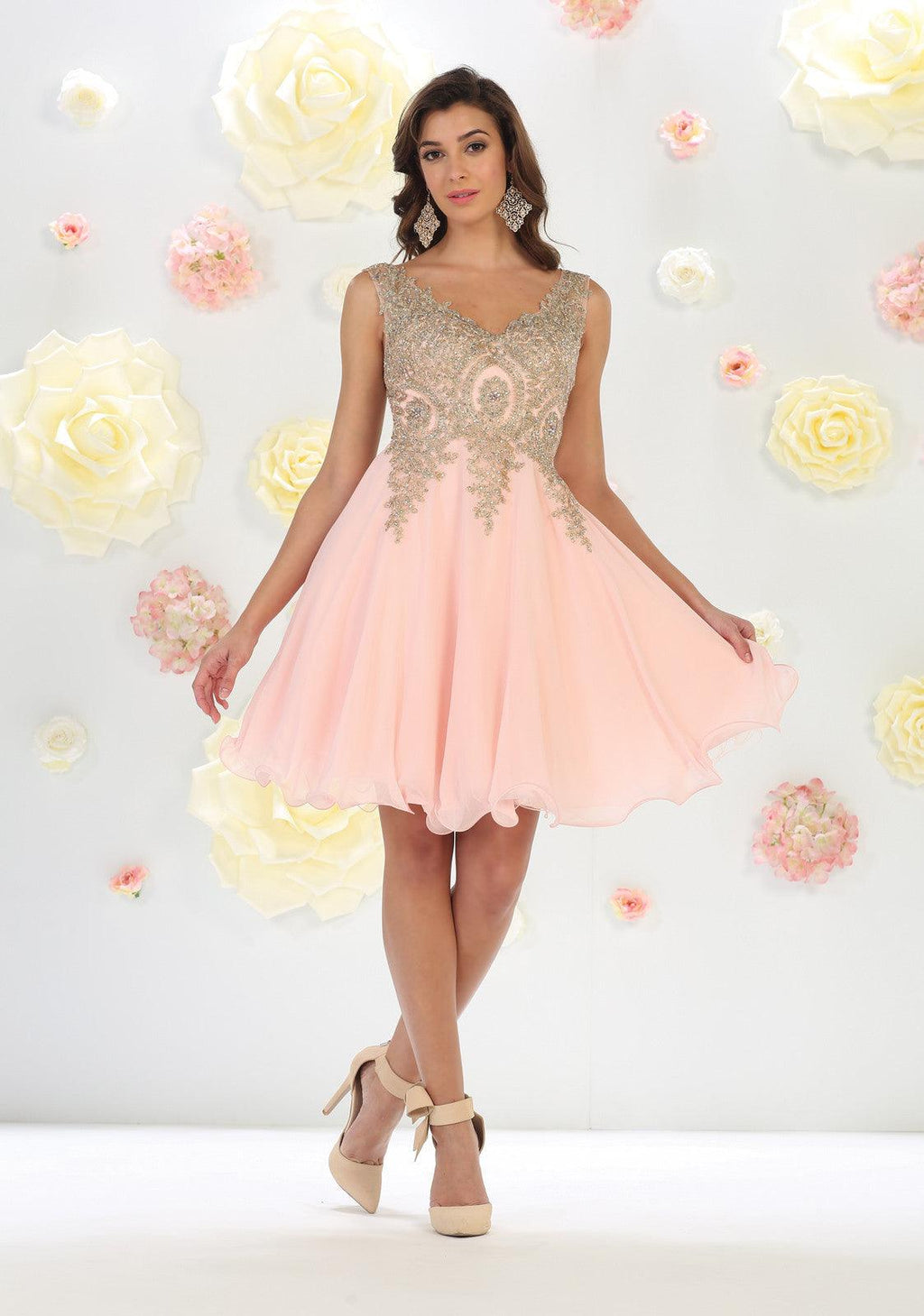 Short Prom Homecoming Dress - The Dress Outlet Blush May Queen