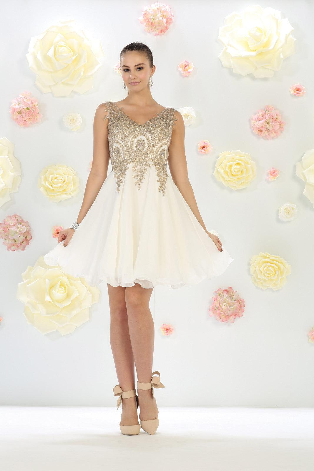 4c5a2f3278b Short Prom Homecoming Dress - The Dress Outlet Ivory May Queen ...