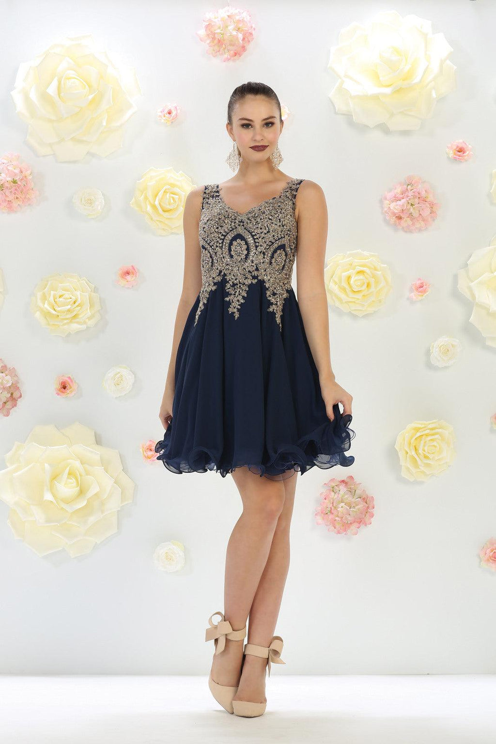 Short Prom Homecoming Dress - The Dress Outlet Navy May Queen