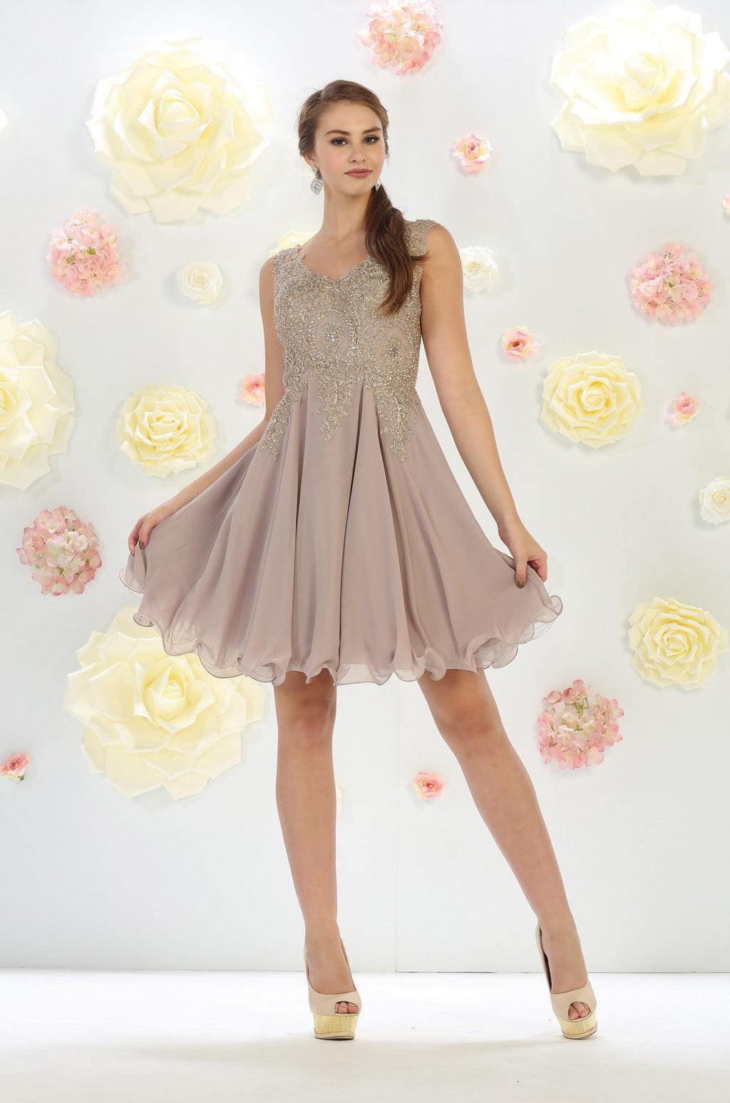 Short Prom Homecoming Dress - The Dress Outlet Mocha May Queen