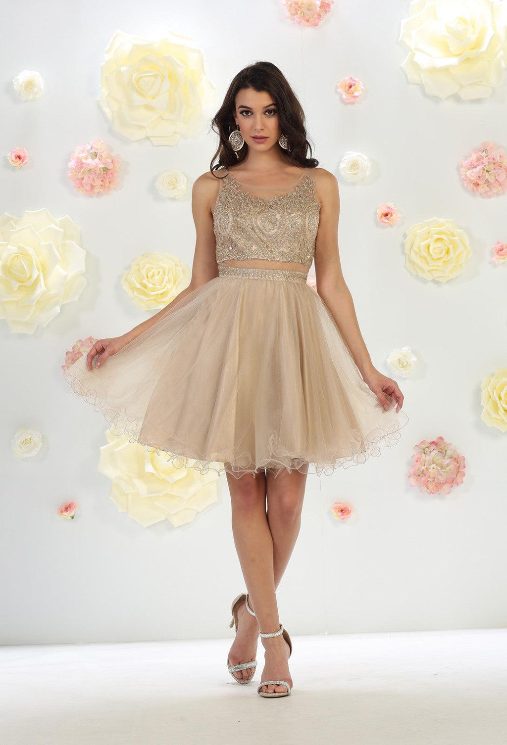 Short Prom Dress Homecoming - The Dress Outlet Mocha May Queen