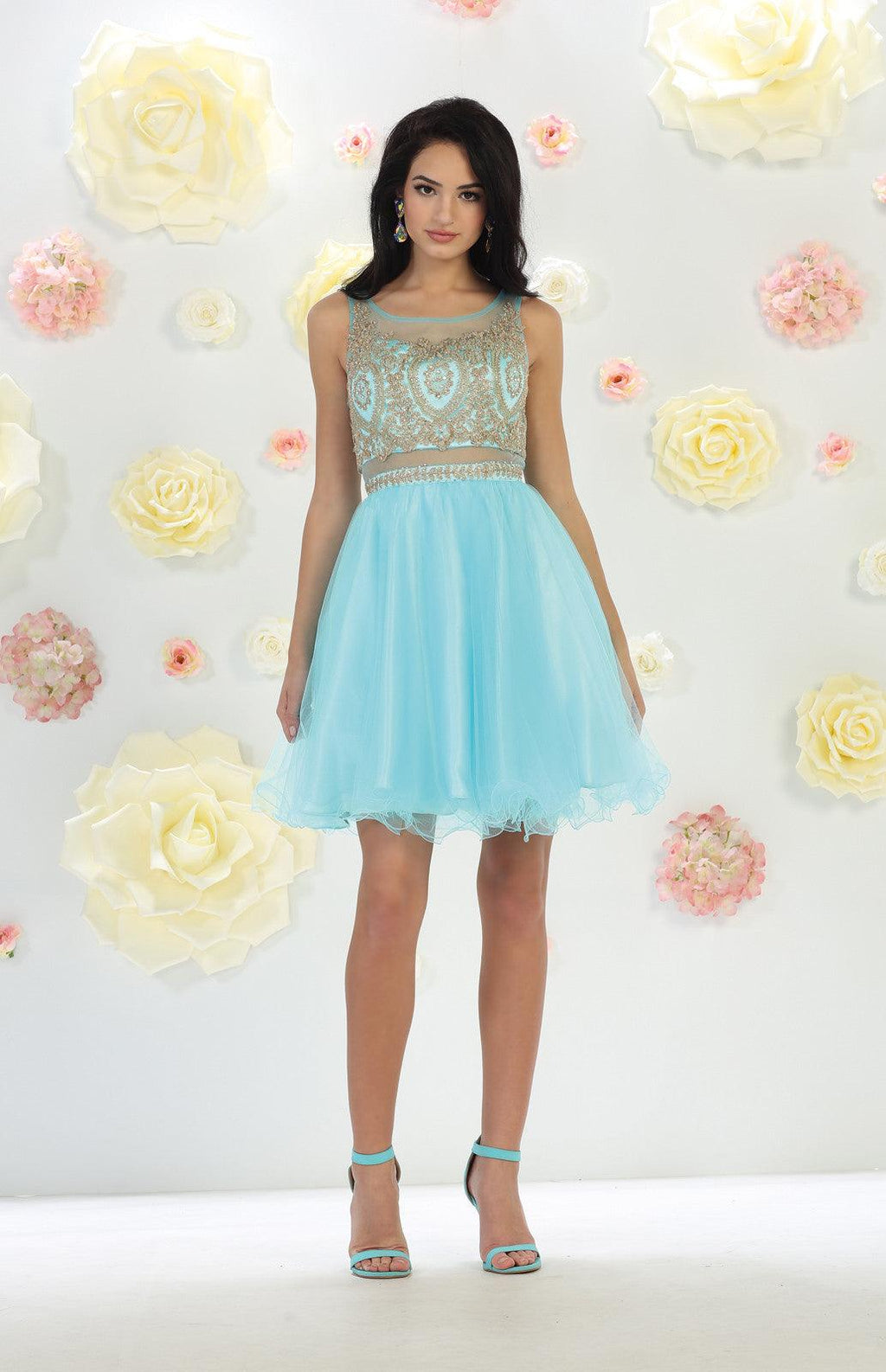 Short Prom Dress Homecoming - The Dress Outlet Aqua May Queen