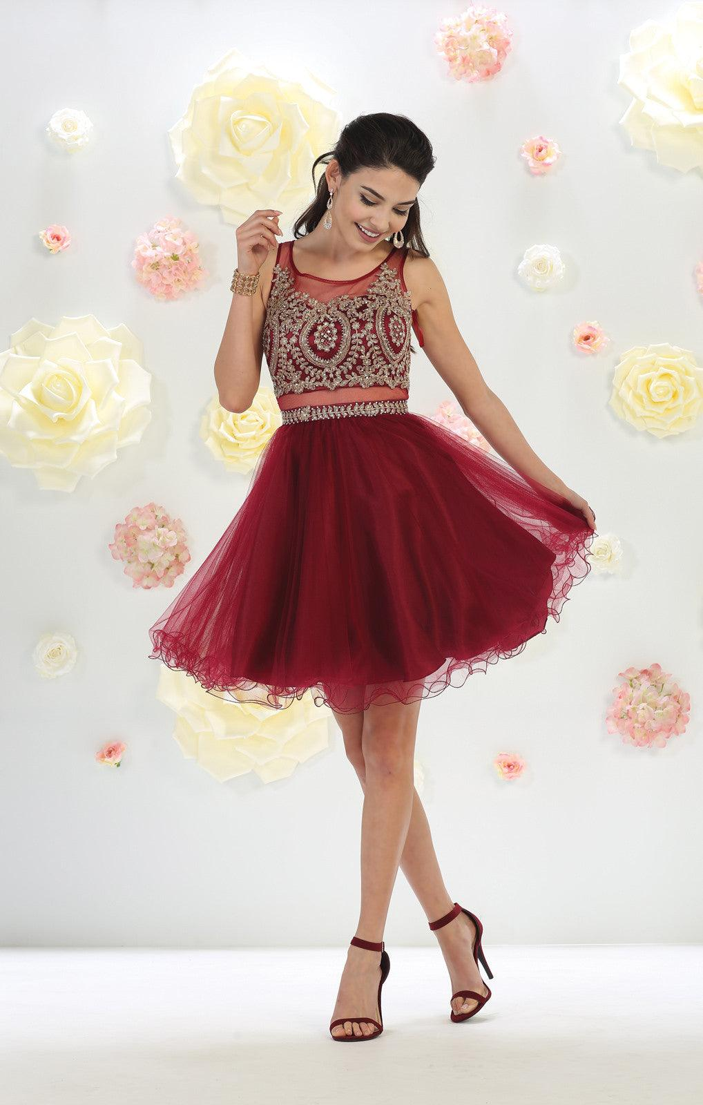 Short Prom Dress Homecoming - The Dress Outlet Burgundy May Queen