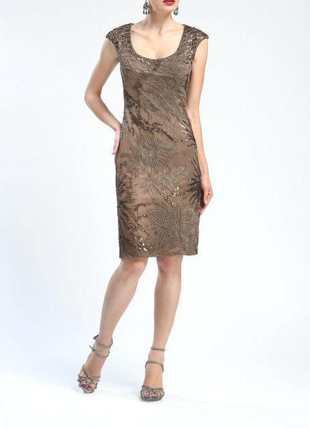 Sue Wong Formal Short Dress Cocktail - The Dress Outlet Taupe