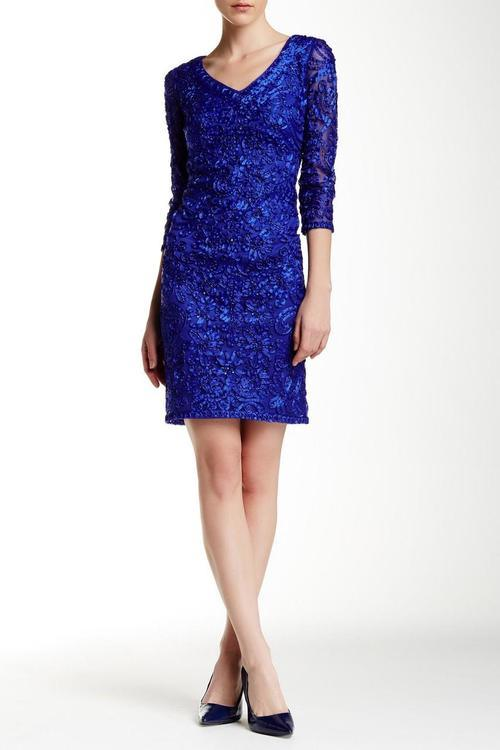 Sue Wong Short Cocktail Dress Formal - The Dress Outlet Sapphire