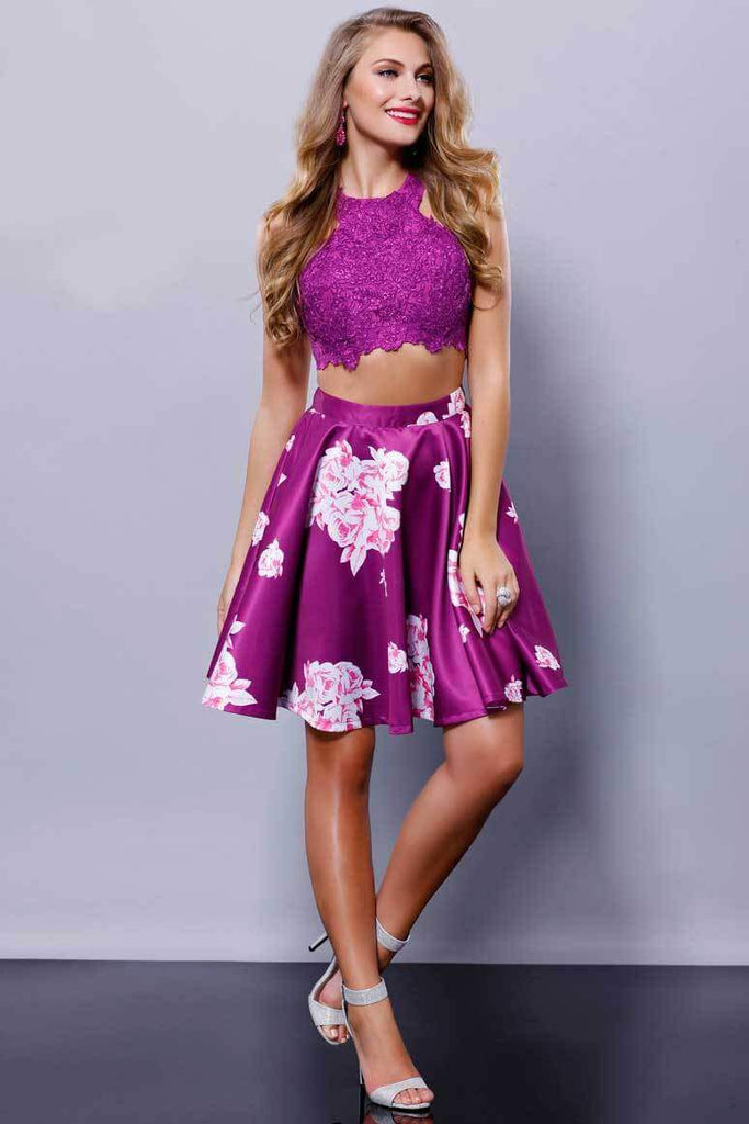 Two Piece Lace Floral Print Short Cocktail Prom Dress - The Dress Outlet NOX Anabel