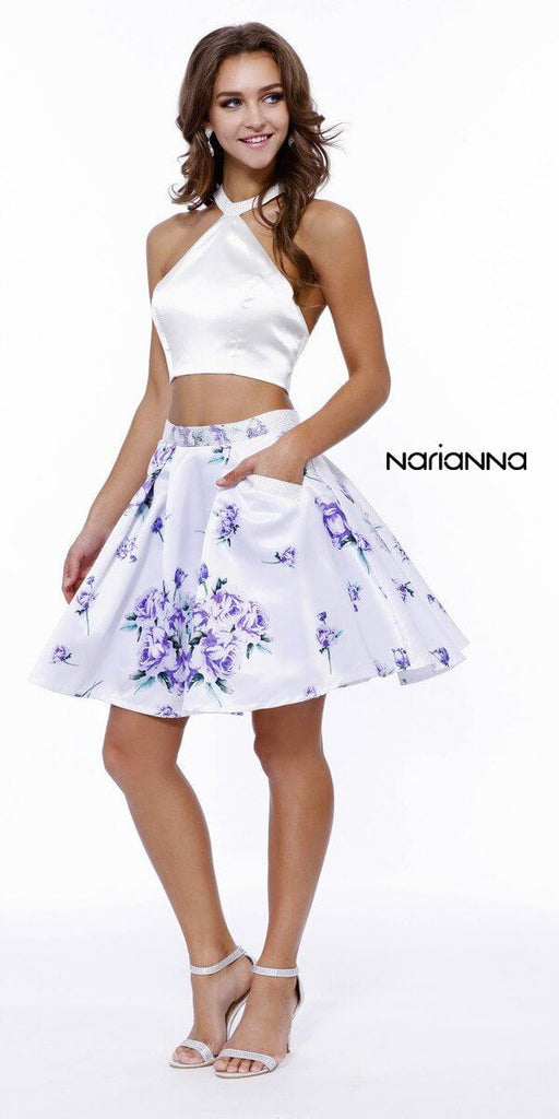 Two Piece Floral Print Prom Dress Ivory/Purple - The Dress Outlet Nox Anabel
