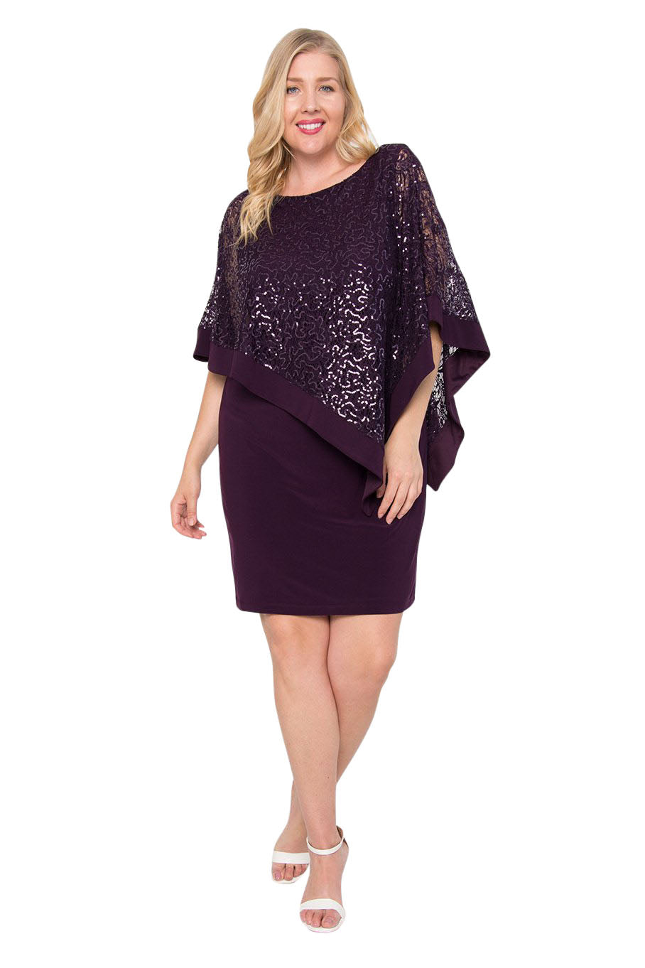 R&M Richards Short Plus Size Mother of the Bride Poncho Cape Dress - The Dress Outlet Plum