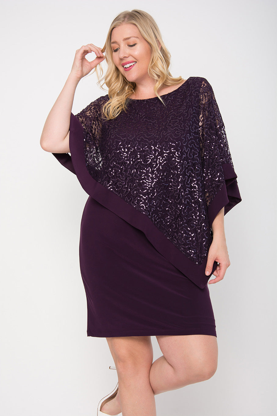 R&M Richards Short Plus Size Mother of the Bride Poncho Cape Dress - The Dress Outlet