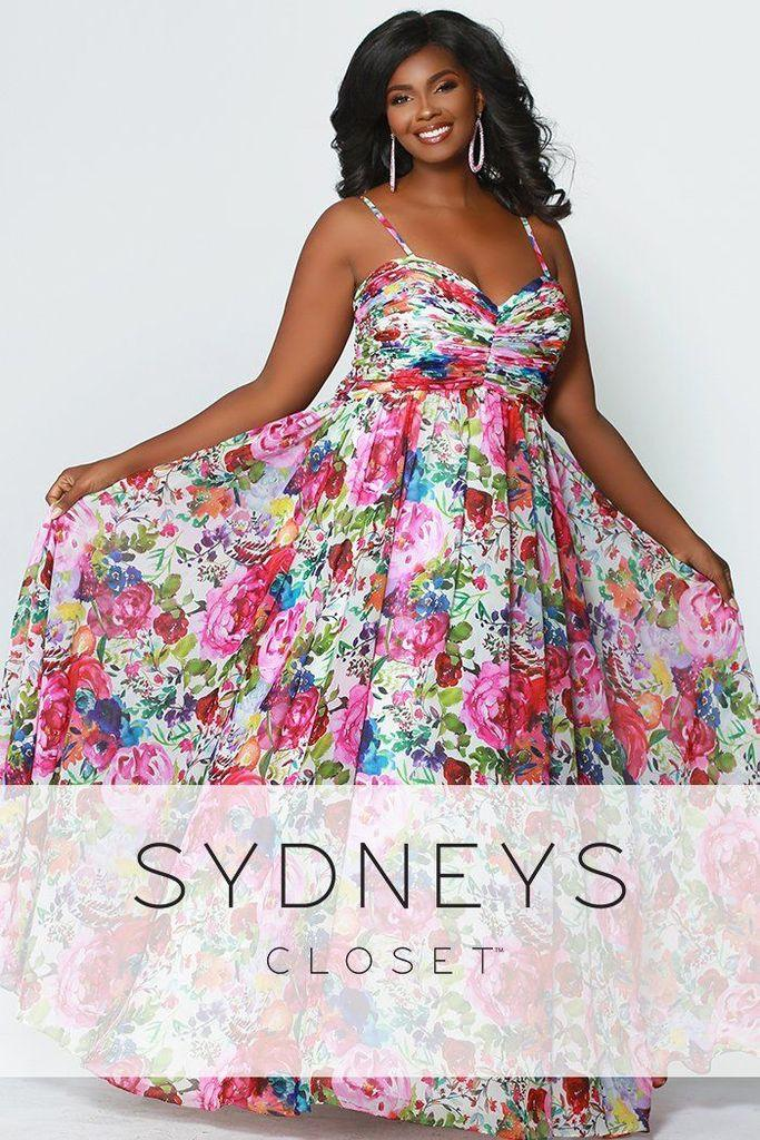 c4d2874d5bc Sydneys Closet Long Sleeveless Floral Plus Size Prom Dress