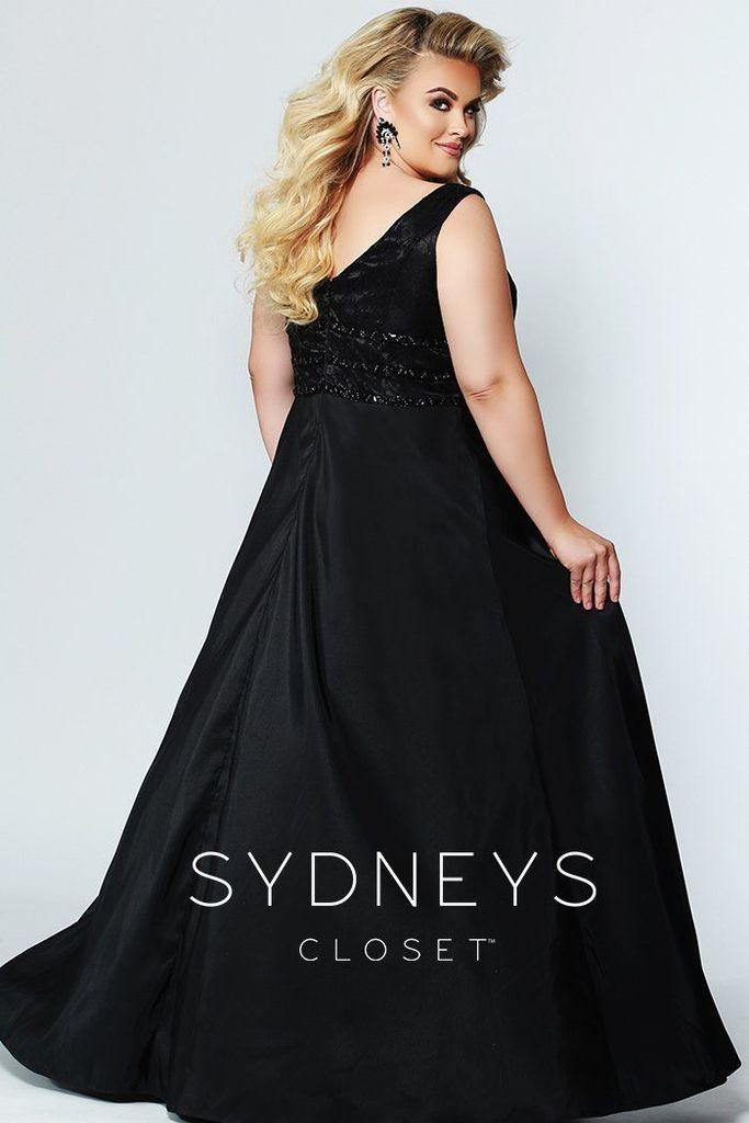 Sydneys Closet Long Satin Sleveeless Plus Size Prom Dress - The Dress Outlet