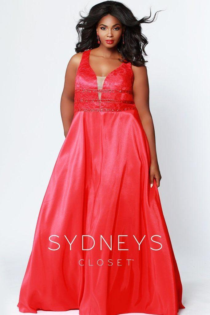 Sydneys Closet Long Satin Sleveeless Plus Size Prom Dress - The Dress Outlet Red