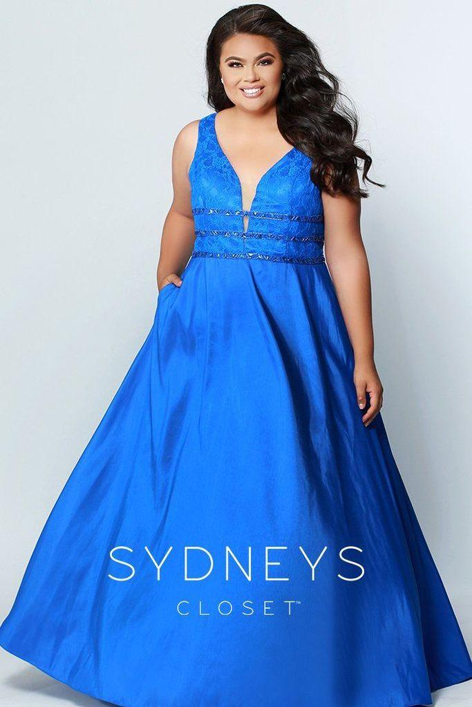 Sydneys Closet Long Satin Sleveeless Plus Size Prom Dress - The Dress Outlet Royal