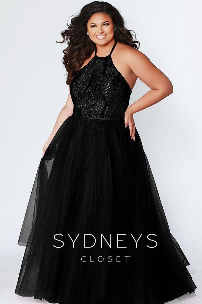 Sydneys Closet Long Halter Neck Plus Size Prom Dress - The Dress Outlet Sydneys Closet