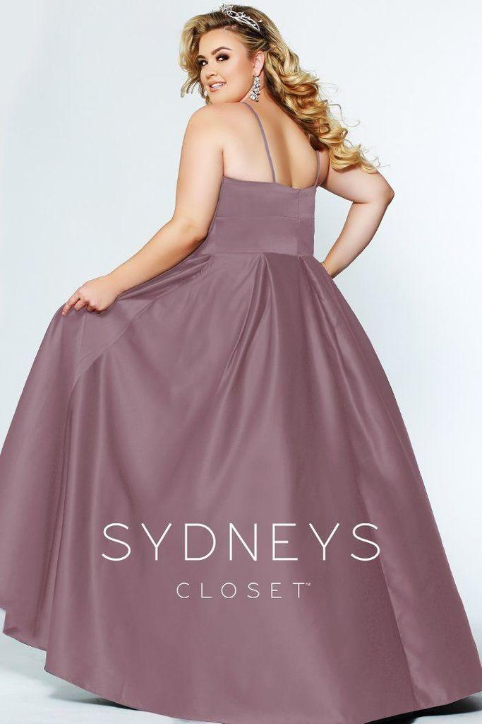 Sydneys Closet Long Plus Size Satin Prom Dress - The Dress Outlet