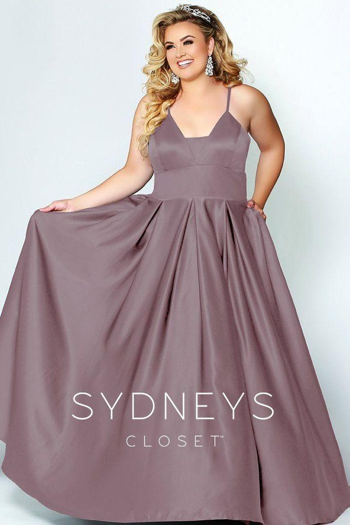 Sydneys Closet Long Plus Size Satin Prom Dress - The Dress Outlet Mauve