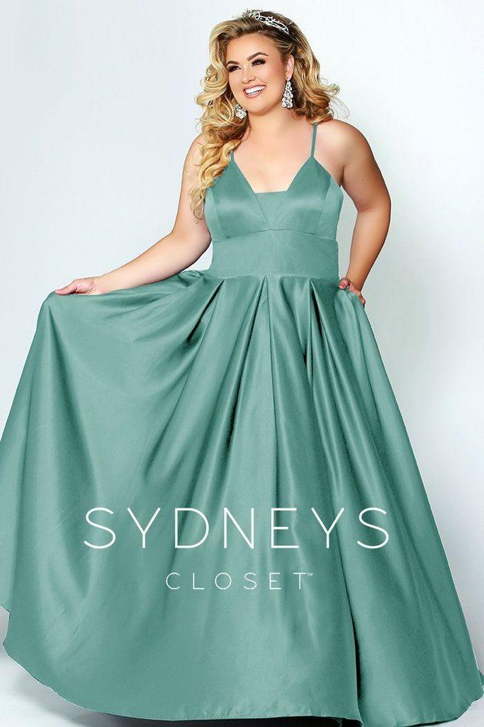 Sydneys Closet Long Plus Size Satin Prom Dress - The Dress Outlet Mint