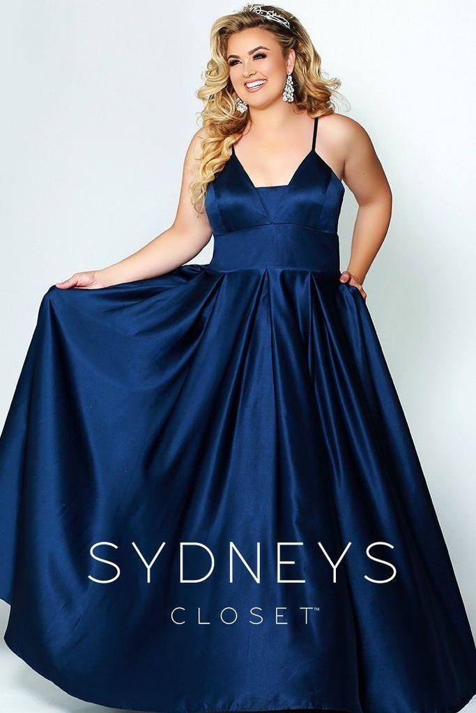 Sydneys Closet Long Plus Size Satin Prom Dress - The Dress Outlet Navy