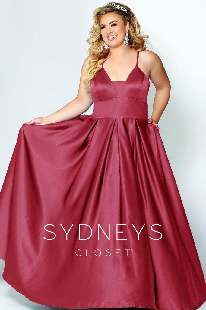 Sydneys Closet Long Plus Size Satin Prom Dress - The Dress Outlet Red