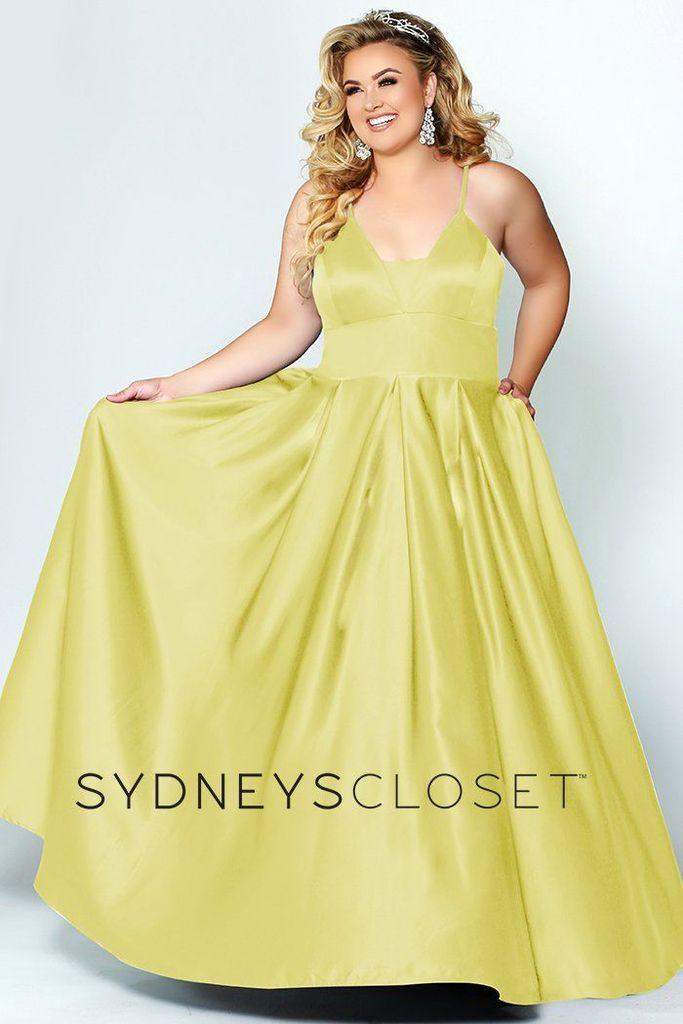 Sydneys Closet Long Plus Size Satin Prom Dress - The Dress Outlet Sunshine Sydneys Closet