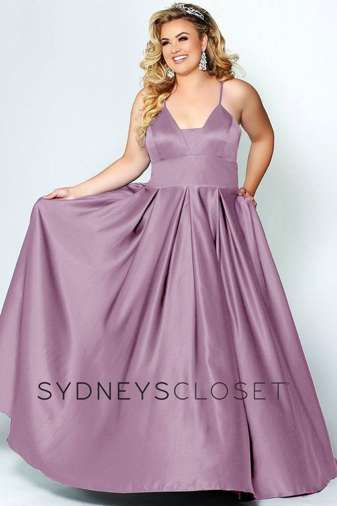 Sydneys Closet Long Plus Size Satin Prom Dress - The Dress Outlet Wisteria