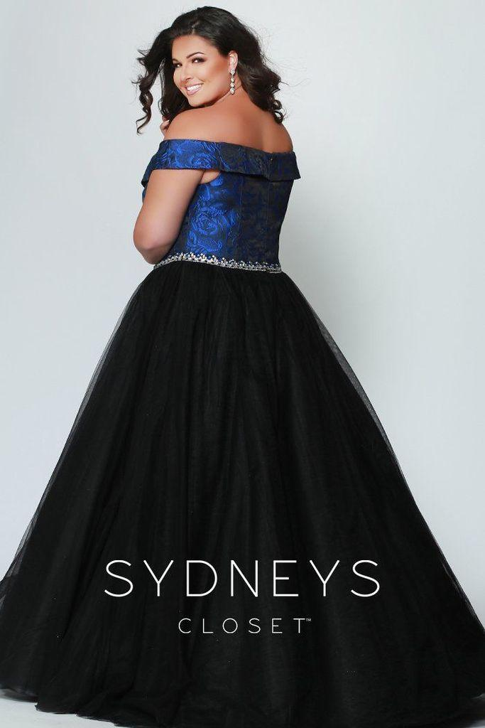Sydneys Closet Long Off The Shoulder Tulle Skirt Plus Size Formal Prom Dress - The Dress Outlet