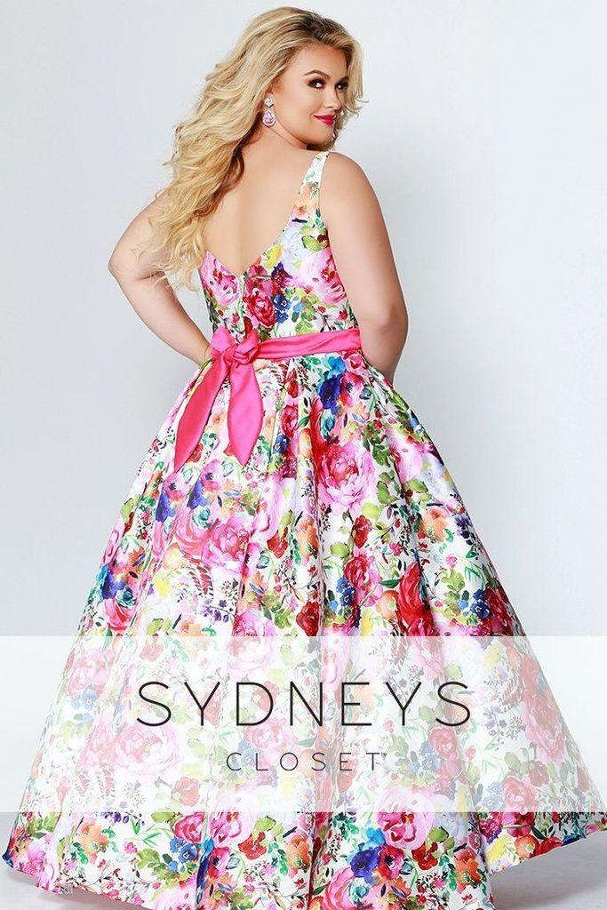 Sydneys Closet Long Floral Prom Dress - The Dress Outlet