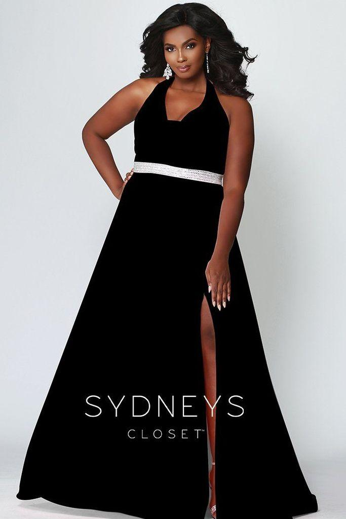 Sydneys Closet Long Halter Prom Plus Size Dress - The Dress Outlet Sydneys Closet