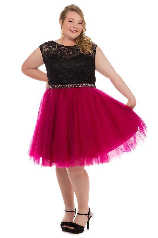 Sydneys Closet Plus Size Short Prom Dress - The Dress Outlet Berry