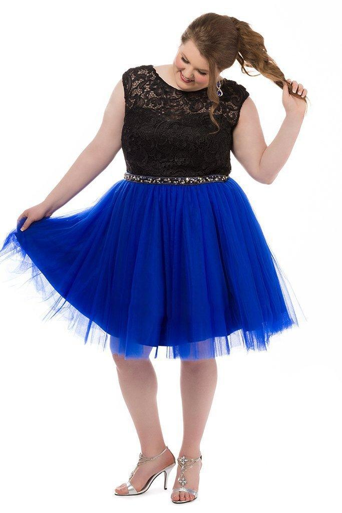 Sydneys Closet Plus Size Short Prom Dress - The Dress Outlet Blue