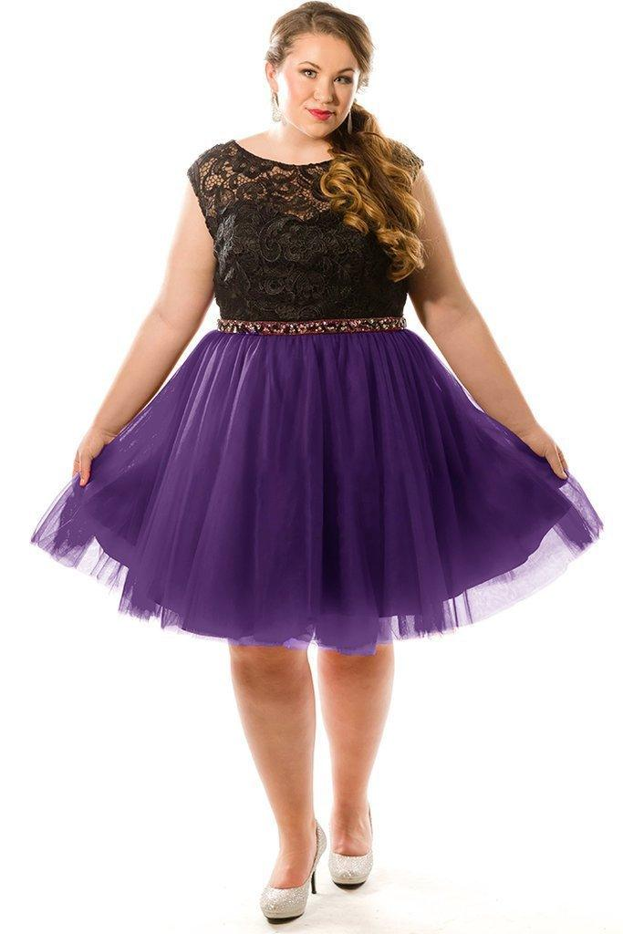 Sydneys Closet Plus Size Short Prom Dress - The Dress Outlet Purple