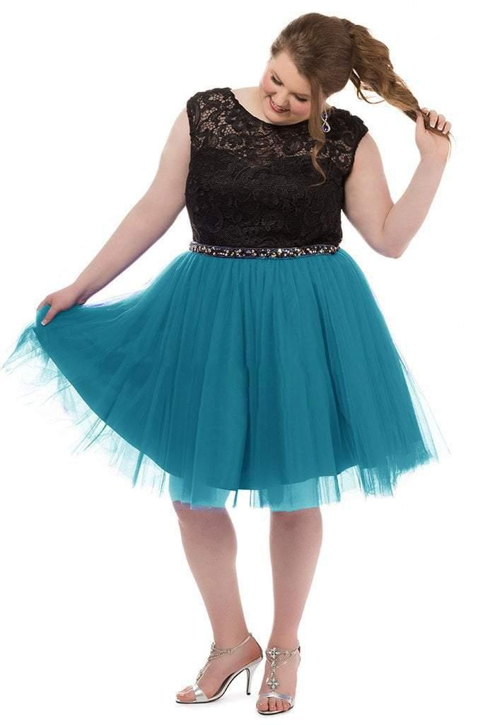 Sydneys Closet Plus Size Short Prom Dress - The Dress Outlet Teal