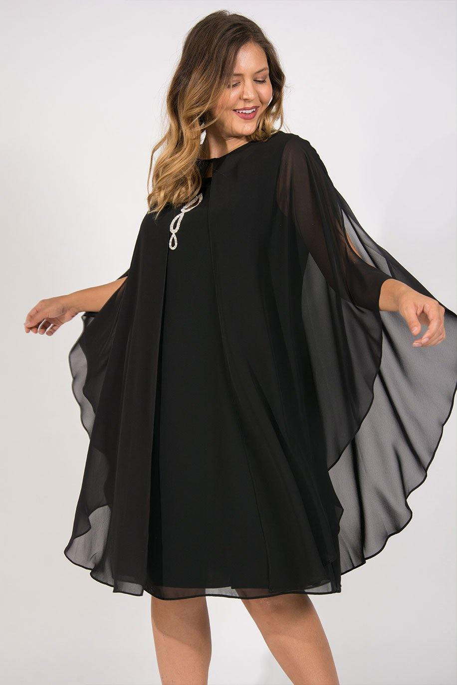 719a23f47de ... SL Fashion Short Plus Size Formal Black Tie Cape Dress - The Dress  Outlet 14W SL ...
