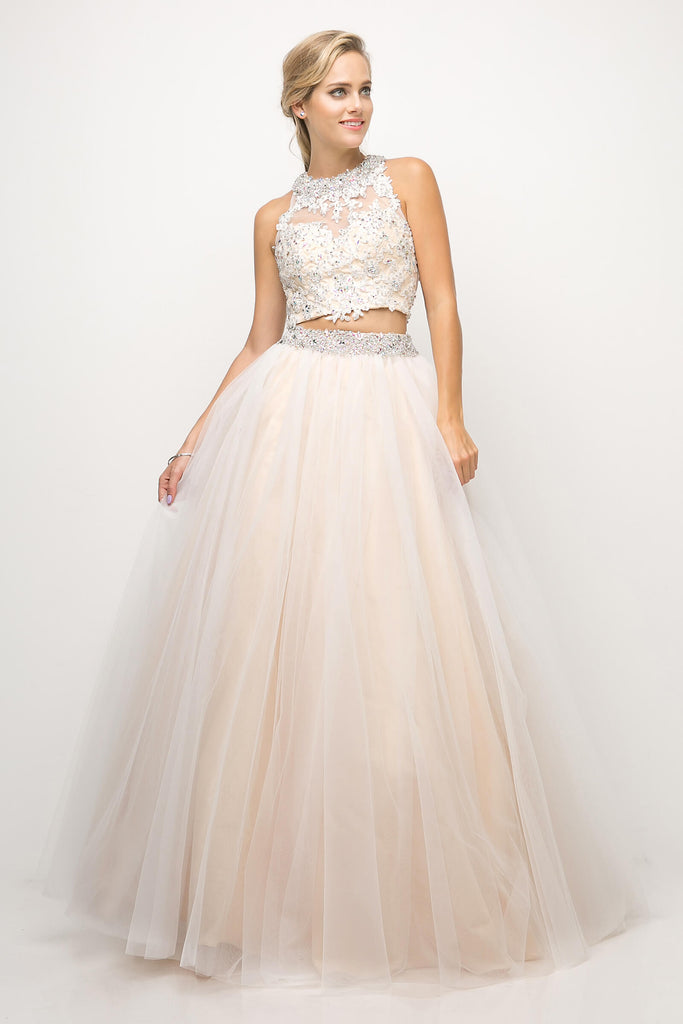 Two Piece Sexy Prom Long Gown - The Dress Outlet Champagne